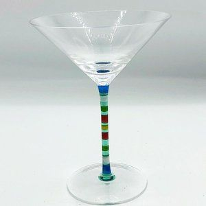 Colorful Stripes Hand Painted Martini Glass